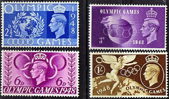Great Britain 1948 Olympic Games Set Fine Mint SG 495 498 Scott 271 274 Other British Commonwealth Stamps HERE!