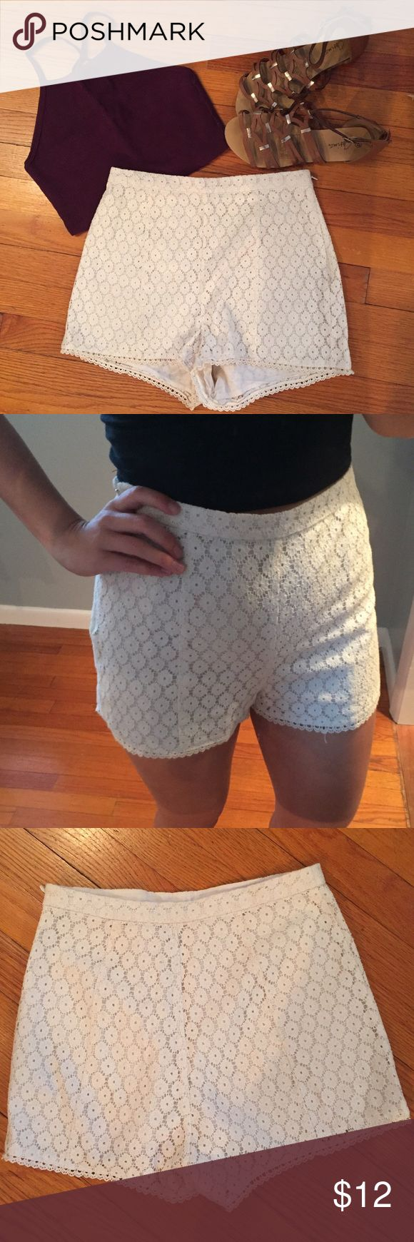 Floral Lace High Waisted Urban Outfitter shorts Kimchi Blue off white/ cream lace shorts. High waisted and side zipper. Like new, only worn a few times. Look great with a crop top and cardigan! Urban Outfitters Shorts