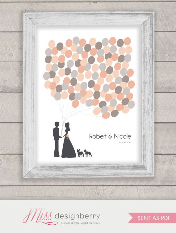 DIY print at home custom wedding guestbook alternative - balloons your wedding colors on Etsy, $52.00 CAD