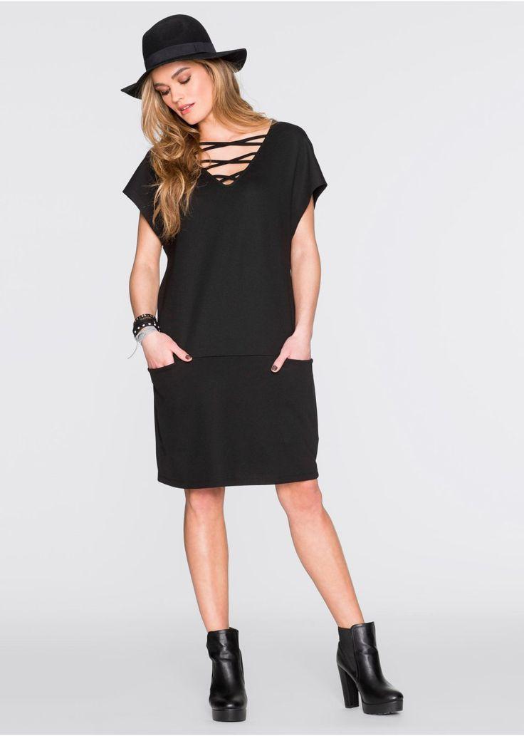 Piękna sukienka z efektownym sznurowaniem w dekolcie i kieszeniami - must-have na nadchodzący sezon! Materiał wierzchni: 70% wiskoza, 25% poliester, 5% elastan