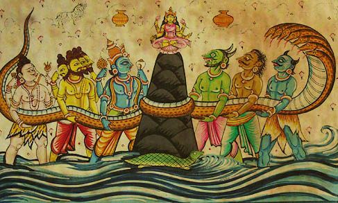 In Hinduism, Churning of the Ocean of Milk is one of the most famous periods in the Puranas. The story appears in the Bhagavata Purana, the Mahabharata and the Vishnu Purana. In literal terms, this tale is an allegorical description of what transpires during a kundalini awakening process. Kundalini is a latent energy that lays dormant in the spine. Upon awakening, it rises in a sensation akin to a slithering snake, up the spinal column (Meru-danda, represented by Mount Meru in the story).