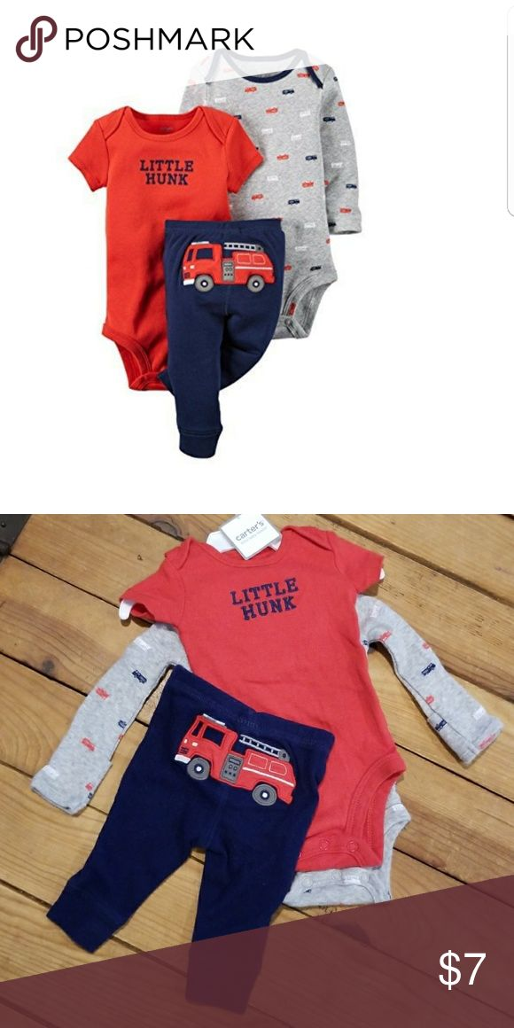 Carter's 3 piece fireman outfit set Newborn 3 piece fireman set, clean, NWOT, cotton and ready for baby. Carter's Matching Sets