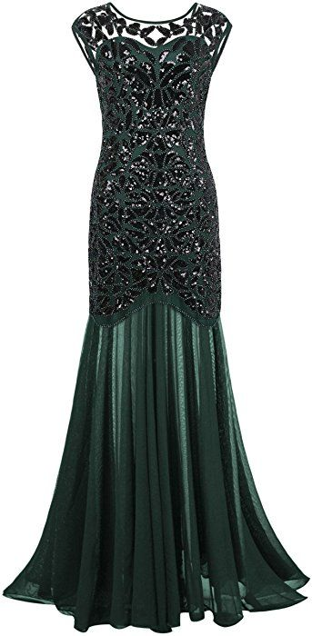 c5b5c24be8fc Amazon.com: Kayamiya Women's 20s Beaded Floral Maxi Long Gatsby Flapper Prom  Dress 2X Green: Clothing