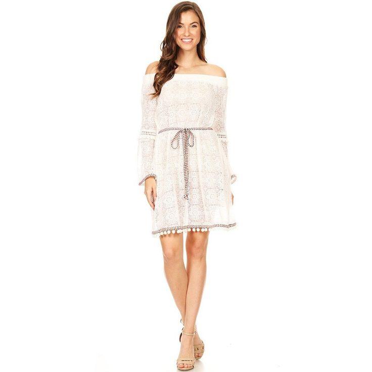 1031-White pompom lace dress