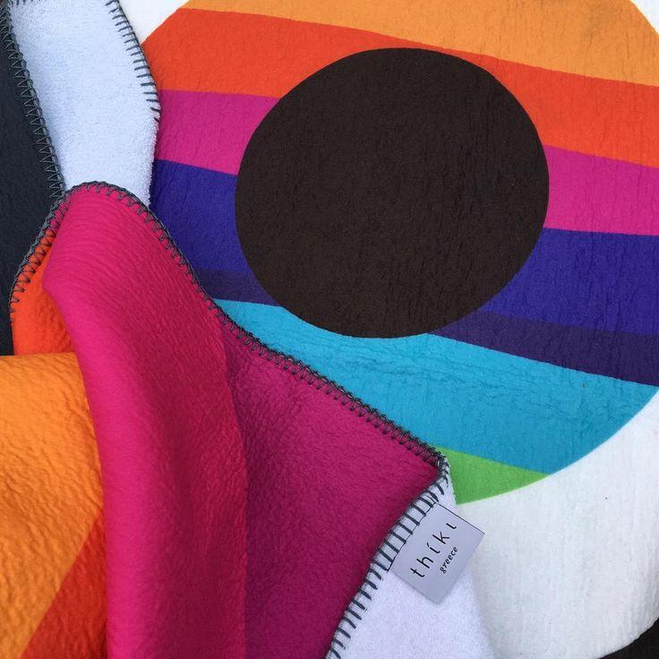Black Evil Eye Rainbow Beach Towel