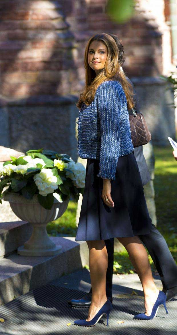 Expecting Swedish Princess Madeleine attends the tribute to late Princess Lilian, (died on March 10) in the Anglican Church of St Peter and St Sigfrid of Stockholm, 8 Sep 2013