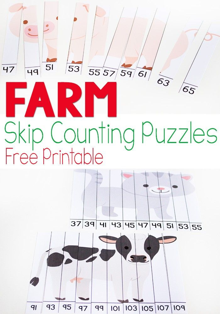 FREE Farm Skip Counting Puzzles are a great way for kids to practice counting by 2s (math, math games, homeschool, 2nd grade, 3rd grade)
