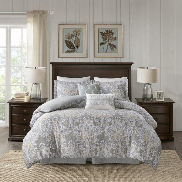 Hallie Cotton 6 Piece Comforter Set Comforter Sets Duvet Cover Sets Grey Comforter Sets