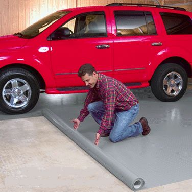 G-FLOOR ROLLOUT GARAGE FLOOR COVERING:  Concrete and Sub-Floor Protection Matting.  Do-it-yourself installation, no adhesives required, simply unroll the mat over your existing sub floor and cover wall to wall or just sections.  Comes in many patterns and colours. - Elite Xpressions