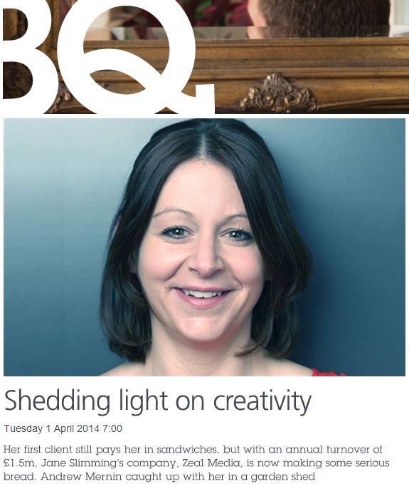 Jane sheds some light on creativity in BQ Magazine.