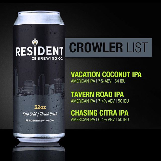 Here's our regular Crowler offerings for tomorrow starting at 11am. Vacation Coconut IPA (American IPA | 7% ABV | 64 IBU), Tavern Road IPA (American IPA | 7.4% ABV | 50 IBU) and Chasing Citra IPA (American IPA | 6.4% ABV | 50 IBU). *** Please note that this week we will also be having a limited-Crowler release of our Chasing Galaxy IPA on Saturday at 11am. If you are planning on coming to Saturday's Crowler release and are interested in also buying some of these Crowlers, please ask…