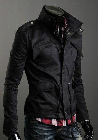 Lapelled Collar Pockets Embellished Long Sleeve Jacket Black Mens Fashion| http://i-love-colorful-candy-hattie.blogspot.com