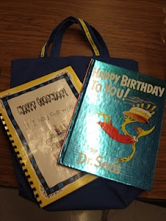 birthday bag..send home with children on their birthday. read book and fill in page in class book then return next day. Cute!