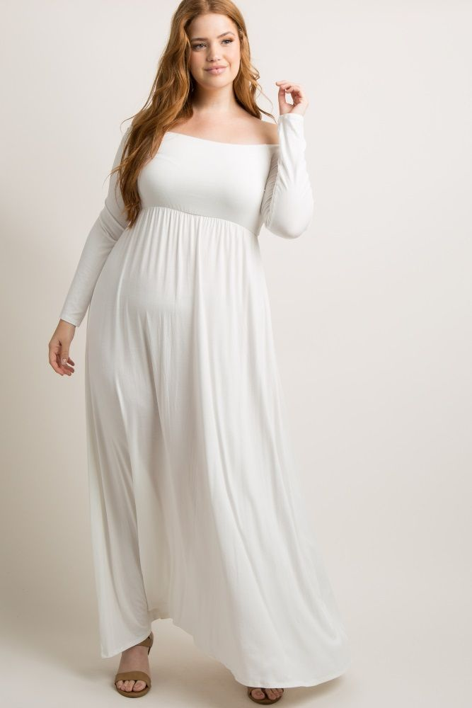 26d5cee4a7bf Ivory Solid Off Shoulder Plus Maxi Dress in 2019
