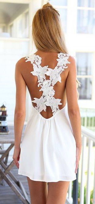 #summer #fashion / white dress details