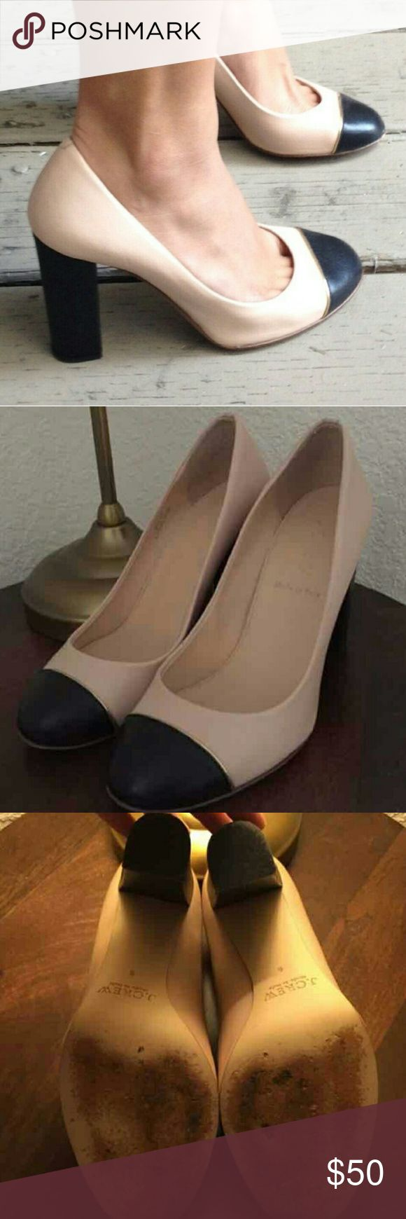 J. Crew Etta Pumps Gorgeous cream pumps with black cap toe and gold piping. Chunky heel lends to a more comfortable stride. Perfect condition with minor wear on the soles. J. Crew Shoes Heels