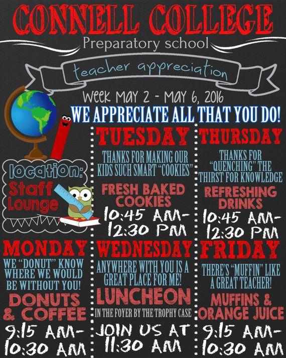 teacher appreciation week schedule custom by CustomPrintablesNY