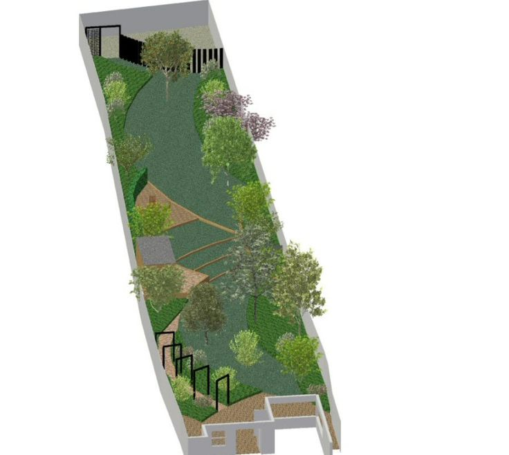 Nice plan for a long narrow garden  A Life Designing  Garden Design Ideas    Long  Narrow Garden  Woking  Surrey. 41 best circular lawn ideas images on Pinterest   Landscaping