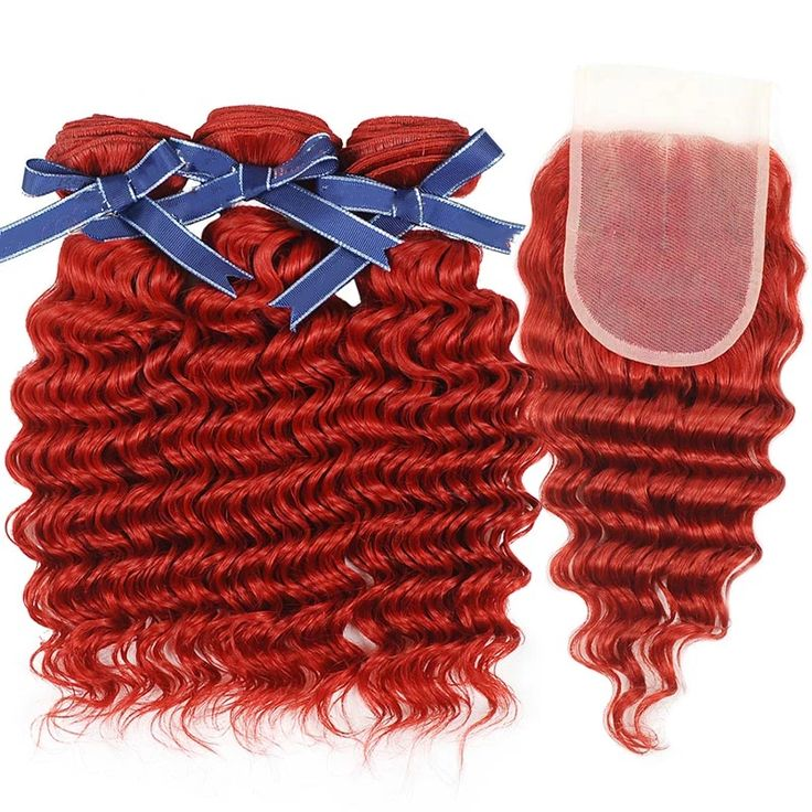 Peruvian hair – Three hair weft with one Closure – Deep Wave Red