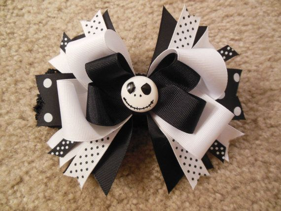 Nightmare before Christmas inspired hairbow with free crochet headband via Etsy