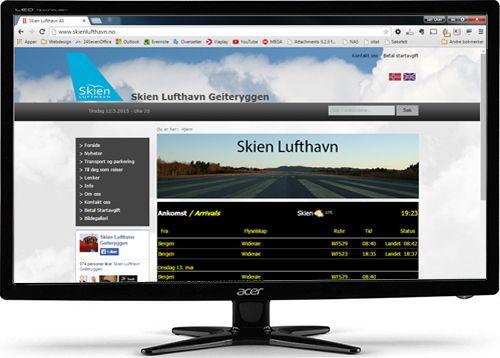 Webdesign for Skien Lufthavn på PC-skjerm. MAlen er selvsagt responsiv tilpasset nettbrett og mobiltelefon.