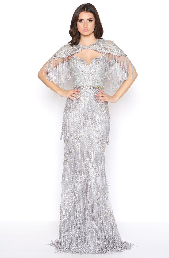 Mac Duggal 50500d Embellished Fringed Sheath Evening Gown In 2020 Evening Gowns Couture Evening Gowns Couture Evening Dress
