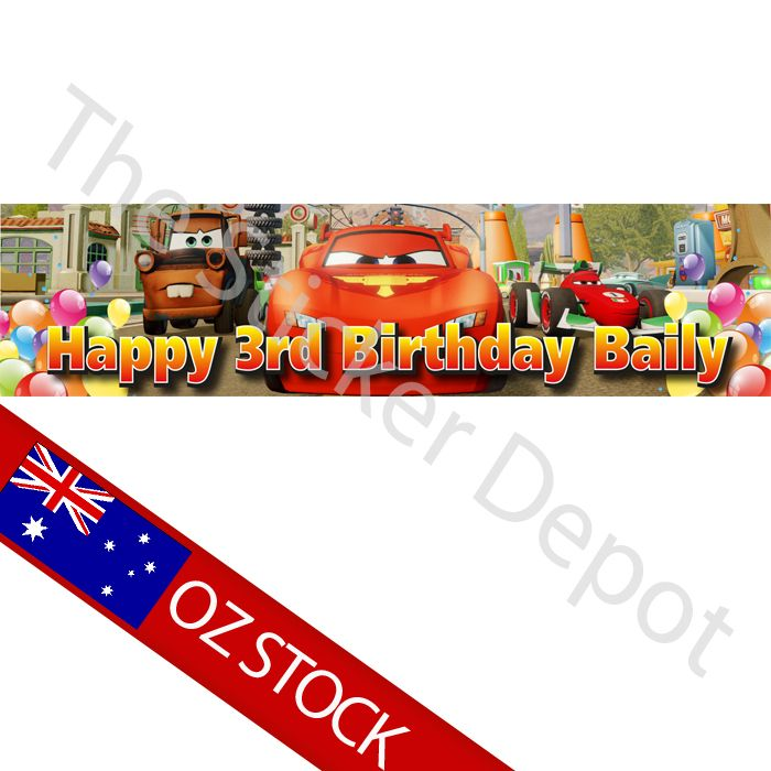 Disney Cars Personalised Birthday Banner With Free Shipping Birthdaybanner Kidsparty Banners Pinterest