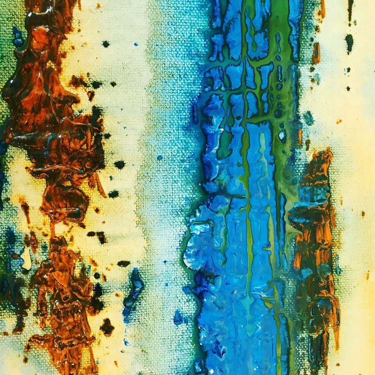 Textured Free Flow #art #texture #ideas #yellow #blue #green #rust