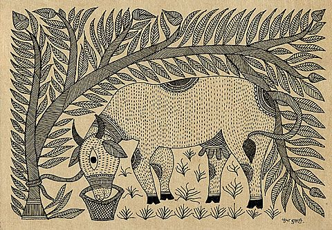 Holy Cow - Mithila painting Sudha Kumar - Madhubani, Bihar, India. Late 20th century. Black ink on paper ((black from burnt jowar).