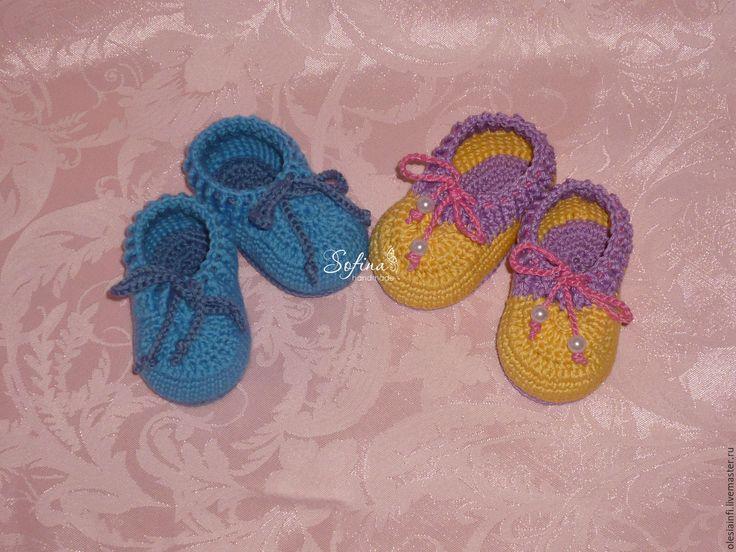 Купить Пинетки моксы для новорожденных - комбинированный, пинетки, пинетки вязаные, пинетки для новорожденных, пинетки для мальчика