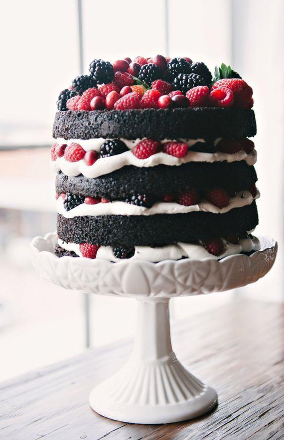 naked chocolate cake with fruit: