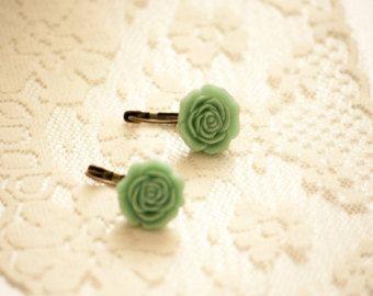Pale Blue Green Matte Leverback Earrings with Resin Flower
