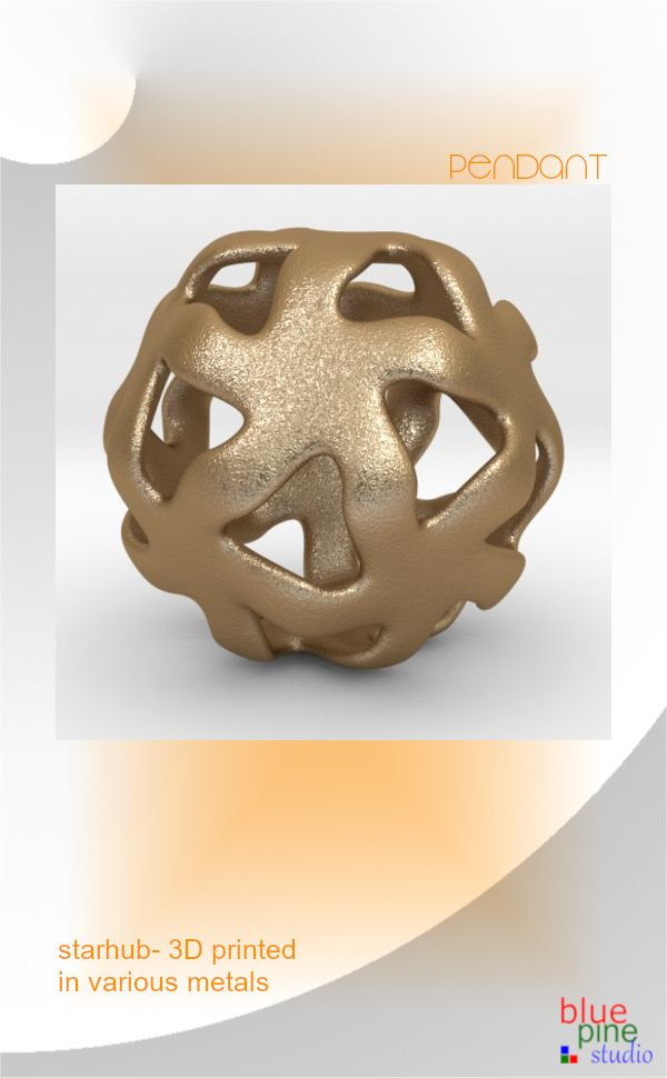 Starhub- a pendant 3D printed in various metals including silver & gold