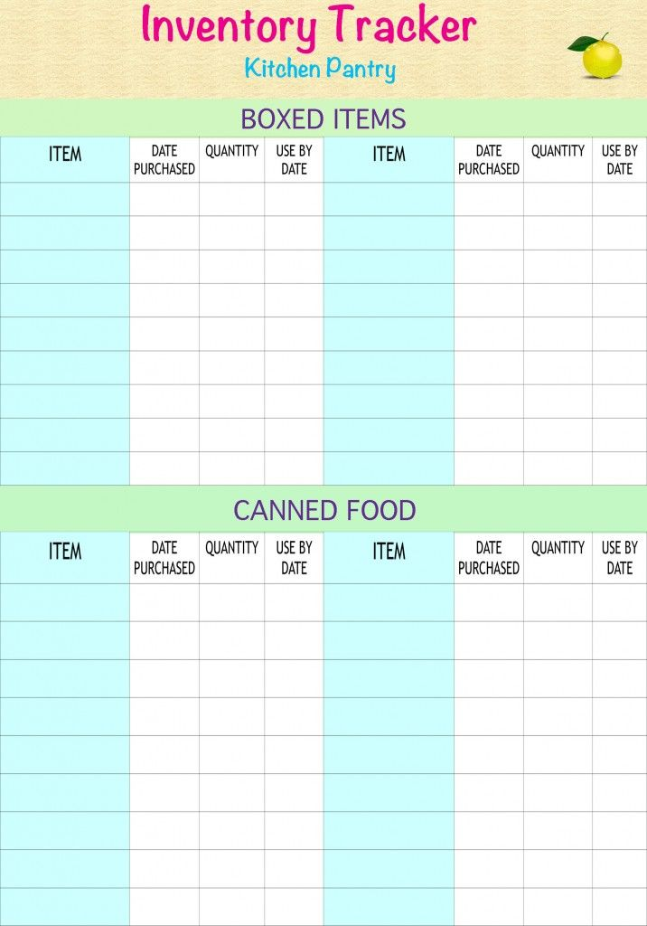 Kitchen/Pantry Inventory Tracker By TidyLady Printables