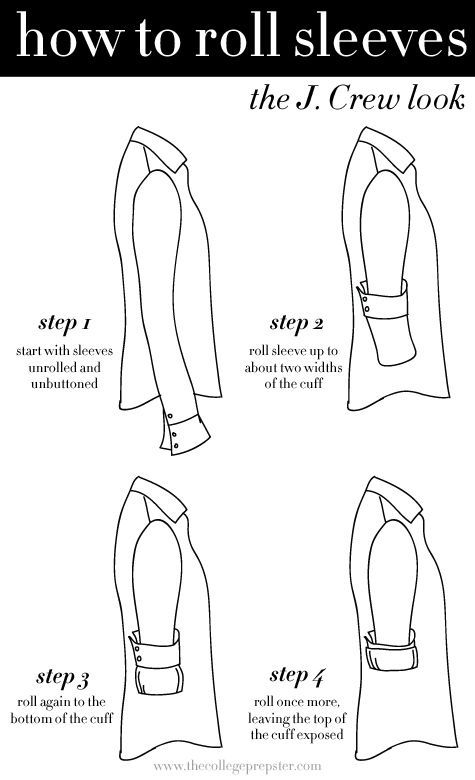 Learn how to roll your sleeves the way they do at J. Crew. | 18 Helpful Diagrams To Solve All Your Clothing Woes //