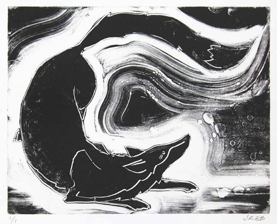 Fox Monotype Print by JaneBeharrell on Etsy