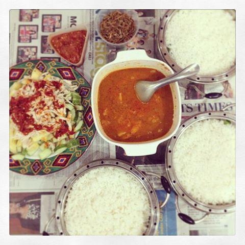 Coconut Rice), Sambal Udang (Spicy Prawn Paste with Pineapple), Kerabu ...