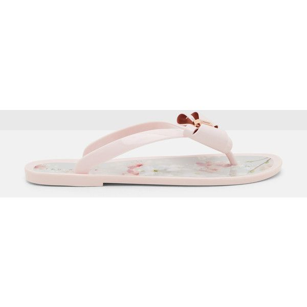 Ted Baker Oriental Blossom jelly flip flops ($55) ❤ liked on Polyvore featuring shoes, sandals, flip flops, light grey, studded flat sandals, flower flip flops, studded sandals, studded flip flops and studded jelly sandals