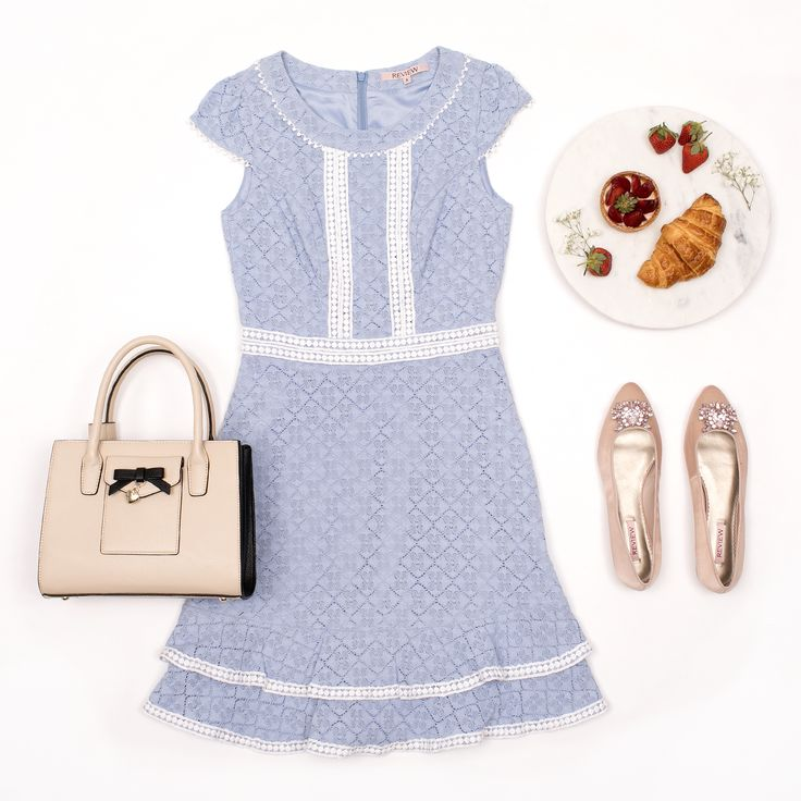 Miracles Happen Dress | Powder Blue And White | Dress