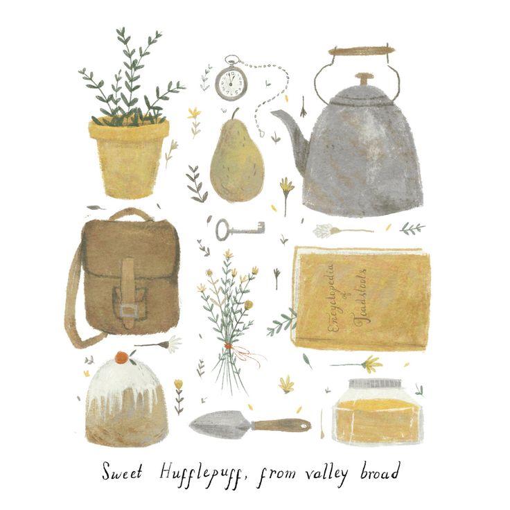 Pour Hufflepuff (Poufsouffle) : théière, poire, montre à gousset, sac à dos, carnet, truelle, miel, gâteau, petite plante