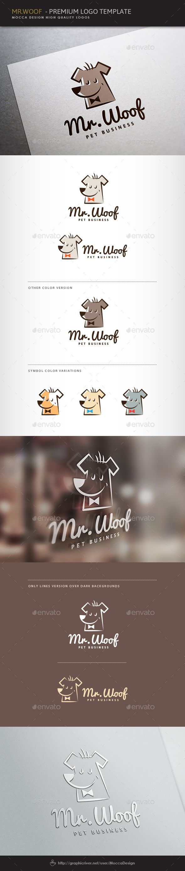 Mr.Woof Logo — Vector EPS #pet fashion show #happy doggy • Available here → https://graphicriver.net/item/mrwoof-logo/4595522?ref=pxcr