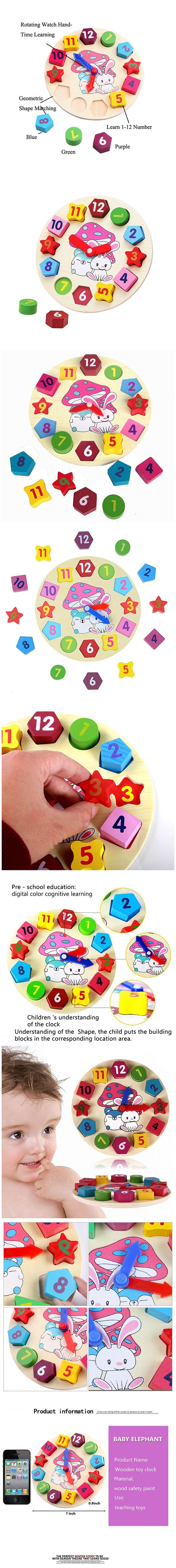 Wooden Blocks Toys Digital Geometry Clock Baby Kids Early Education Puzzle Set Children'S Educational Toy For Baby Boy And Girl Gift