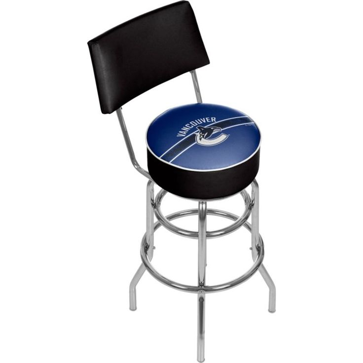 Trademark Games Vancouver Canucks Padded Swivel Bar Stool with Back, Team