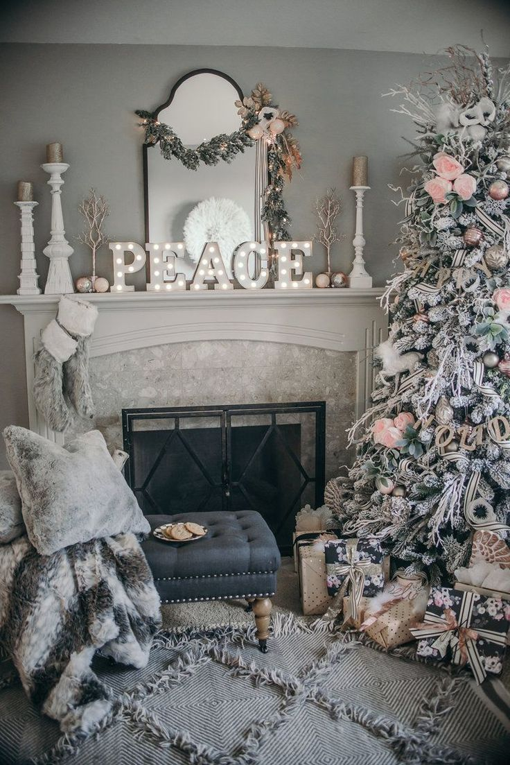 Pink Black and White Floral Christmas Decor 2016