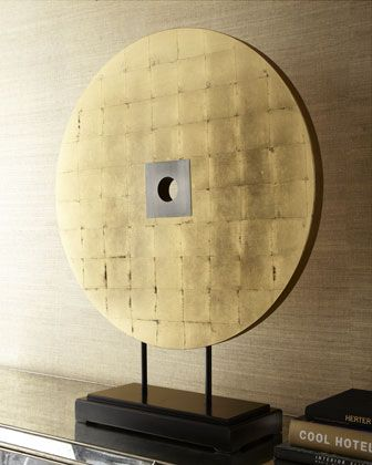 Round Gold-Leaf Sculpture on Stand at Horchow.
