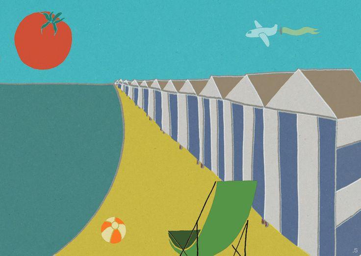 Ilustratie voor het VEGAN Magazine, over het zonwerende effect van tomaten.  #stouthandel #tomatoe #sunbathing #beach #sunbalm #zonnebrand #tomaat #strand #summer #zomer