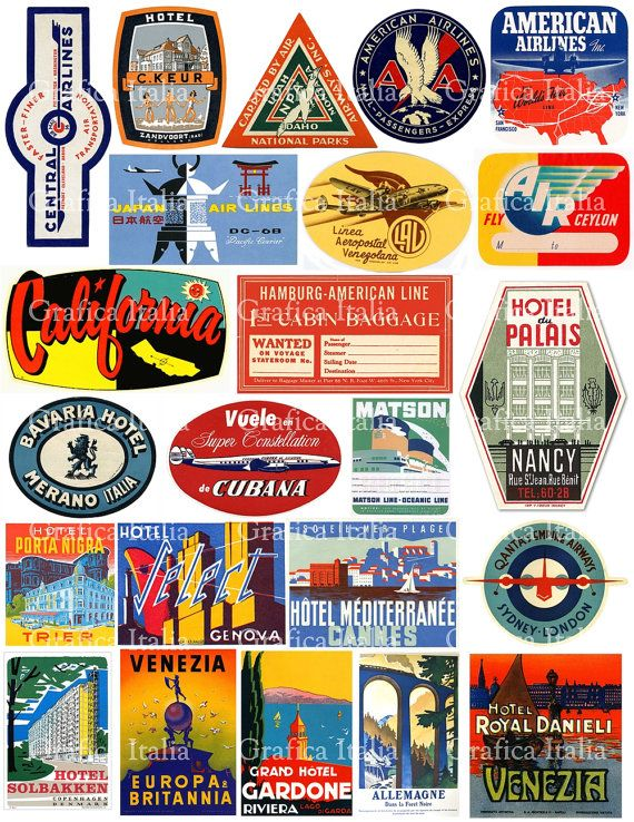 23 Vintage Travel Luggage Labels Digital Download Clipart - Retro Digital Clip Art for Scrapbooking, DIY Projects, stickers, craft projects by graficaitalia on Etsy