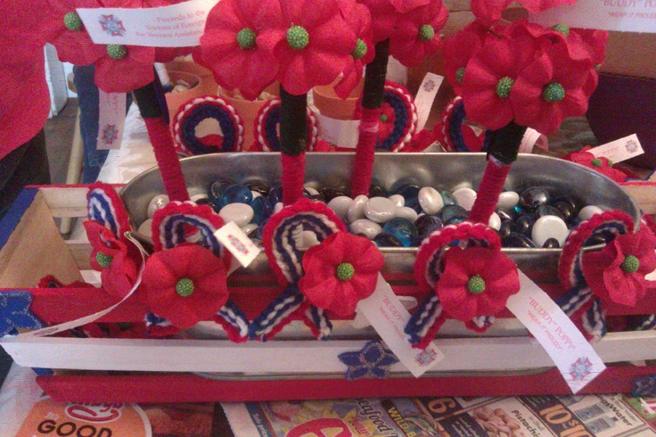 Here is a HOT Mess of Buddy Poppies! Poppy pens, Poppy Red White n Blur ribbons(pins and magnets)