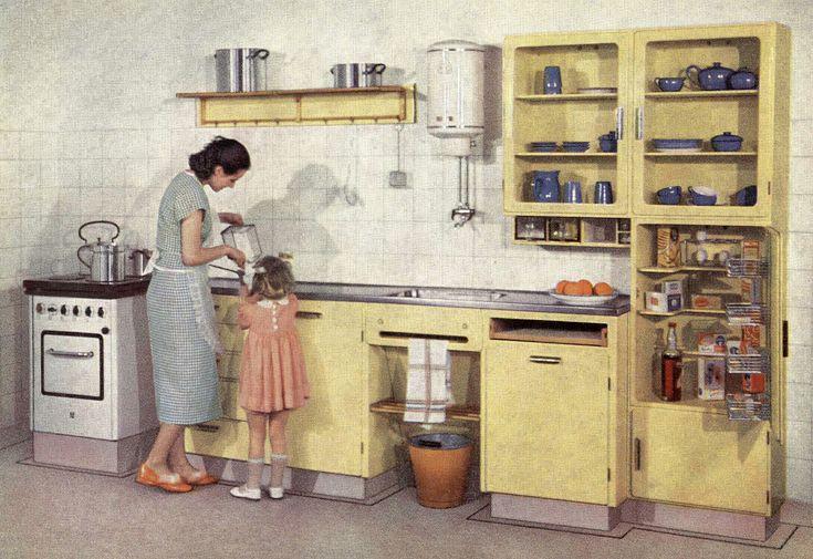 De eerste Bruynzeel keuken ontworpen door Piet Zwart.