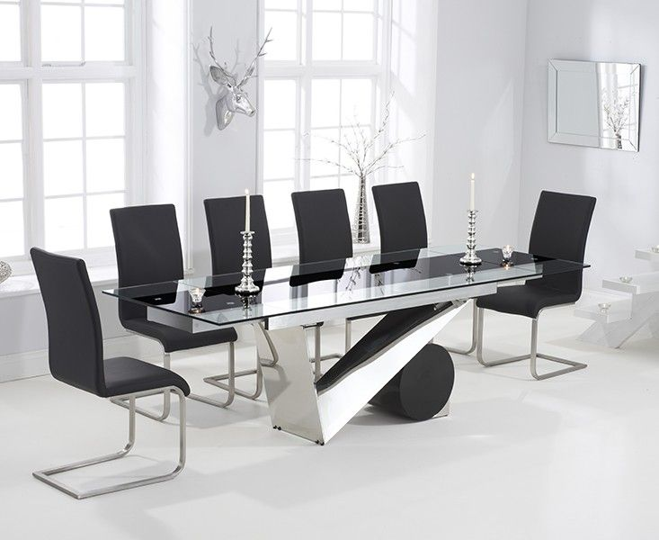 Buy The Pretoria 170cm Extending Black Glass Dining Table With Malaga Chairs At Oak Furniture Superstore